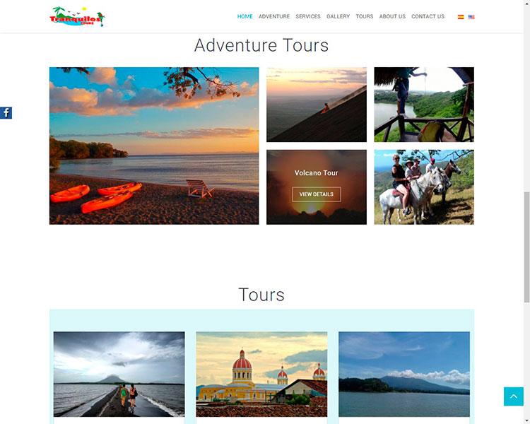 Diseño y desarrollo sitio tranquilos tours nicaragua aventuras